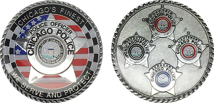 CHICAGO POLICE CHALLENGE COIN: Chicago's Finest 4 Star, Size: 1 75