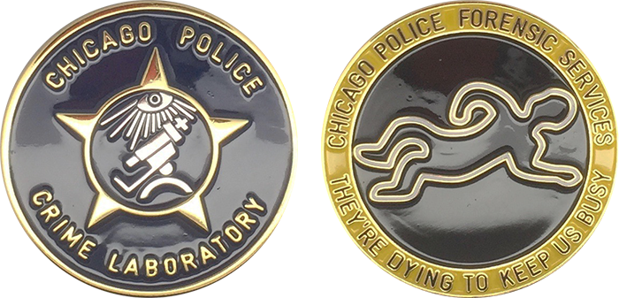 CHICAGO POLICE CHALLENGE COIN: Crime Laboratory, Size: 1 5