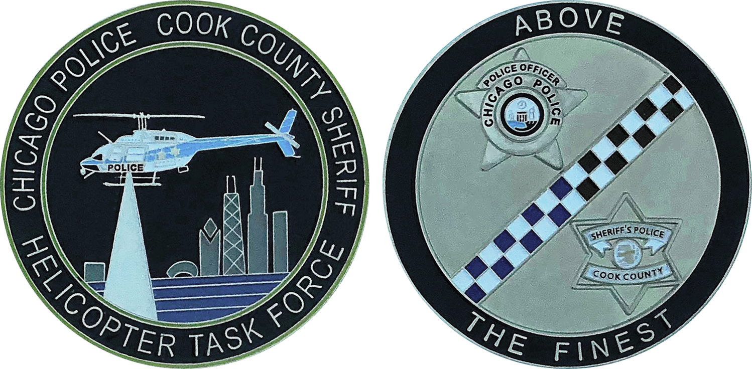 CHICAGO POLICE / COOK COUNTY SHERIFF CHALLENGE COIN: Helicopter Task Force,  Size: 2