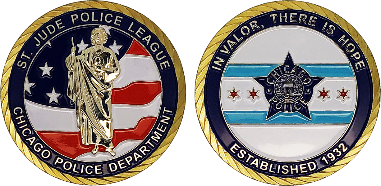 ST  JUDE POLICE LEAGUE CHALLENGE COIN: Standard, Size: 1 75