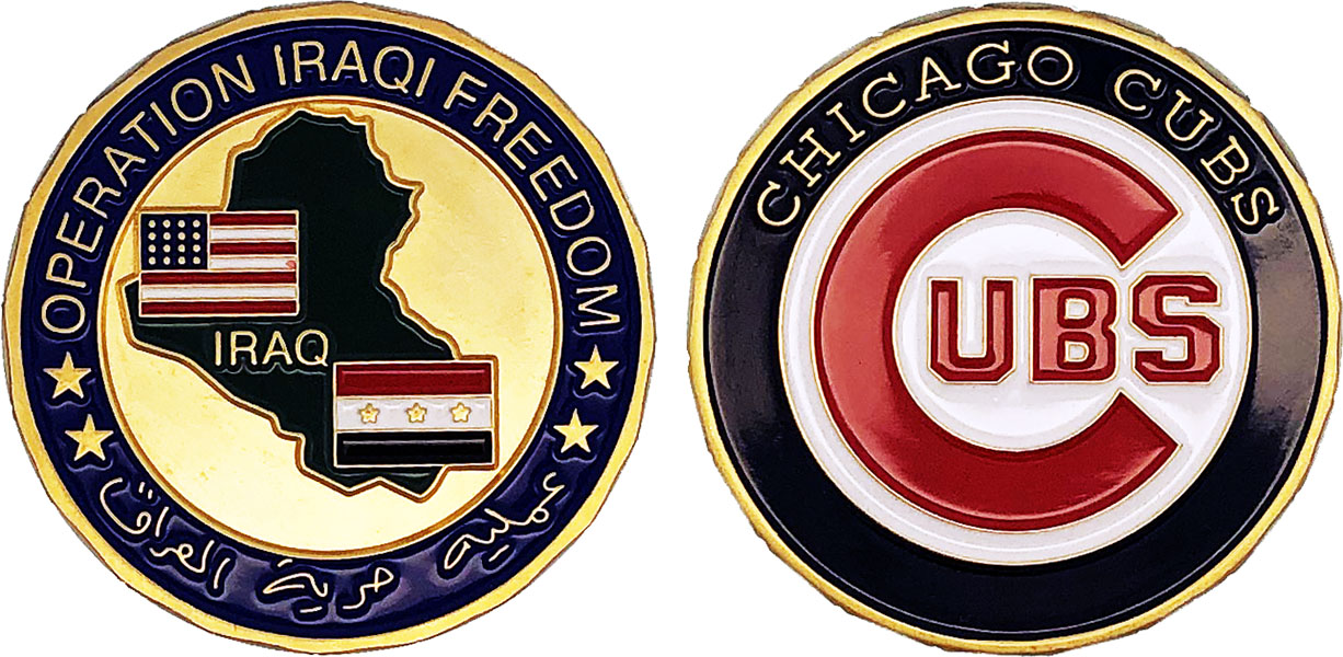 SPECIALTY CHALLENGE COIN: Operation Iraqi Freedom / Chicago Cubs, Size:  1 75